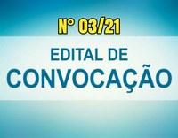 Edital de Convocação nº 03/21 - CONCURSO PÚBLICO N° 02/2018.