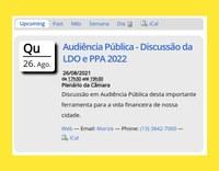 Câmara Municipal de Ilha Comprida CONVIDA para participação na Audiência Pública da LDO.