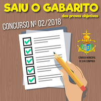 Confira o Gabarito das Provas Objetivas - Concurso Público nº 02/2018