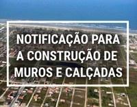 Prefeitura de ILHA COMPRIDA notifica aos contribuintes, via CARNÊ DO IPTU, sobre a obrigatoriedade da construção de MUROS E CALÇADAS.