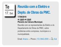 Reunião com representante da Elektro e do Depto de Obras da PMIC.