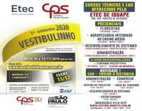 """VESTIBULINHO 2019 - Etec """"Colegio Agrícola de Iguape"""" - CONFIRA!!!"""